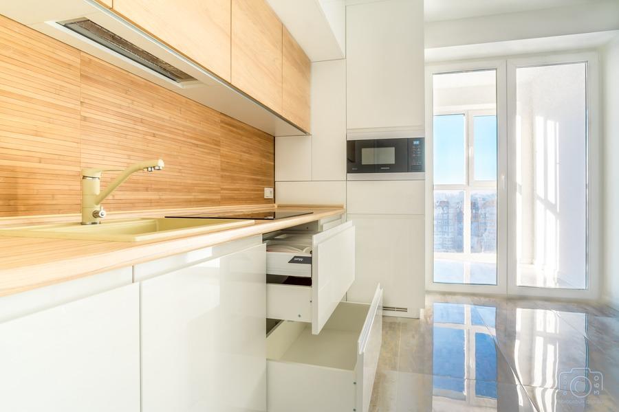 Белый кухонный гарнитур-Кухня МДФ в эмали «Модель 5»-фото6