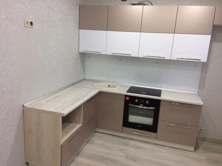 Бежевые кухни-Кухня из пластика «Модель 454»-фото2