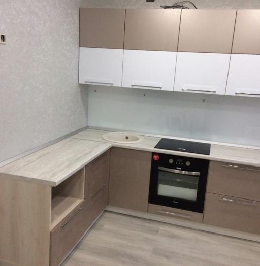 Бежевые кухни-Кухня из пластика «Модель 454»-фото3